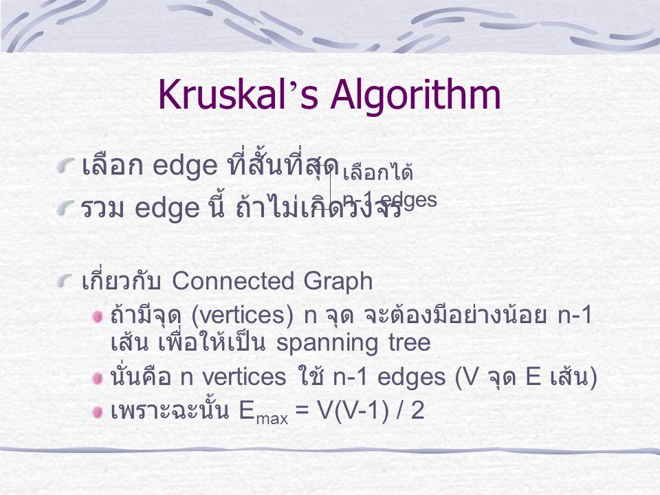Kruskal ' s Algorithm เลือก edge ที่สั้นที่สุด รวม edge นี้ ถ้าไม่เกิดวงจร เลือกได้ n-1 edges เกี่ยวกับ Connected Graph ถ้ามีจุด (vertices) n จุด จะต้
