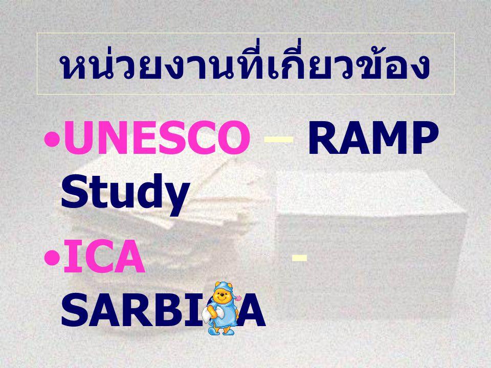 หน่วยงานที่เกี่ยวข้อง UNESCO – RAMP Study ICA - SARBICA