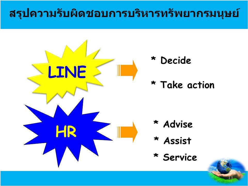 สรุปความรับผิดชอบการบริหารทรัพยากรมนุษย์ LINE HR * Decide * Take action * Advise * Assist * Service 11