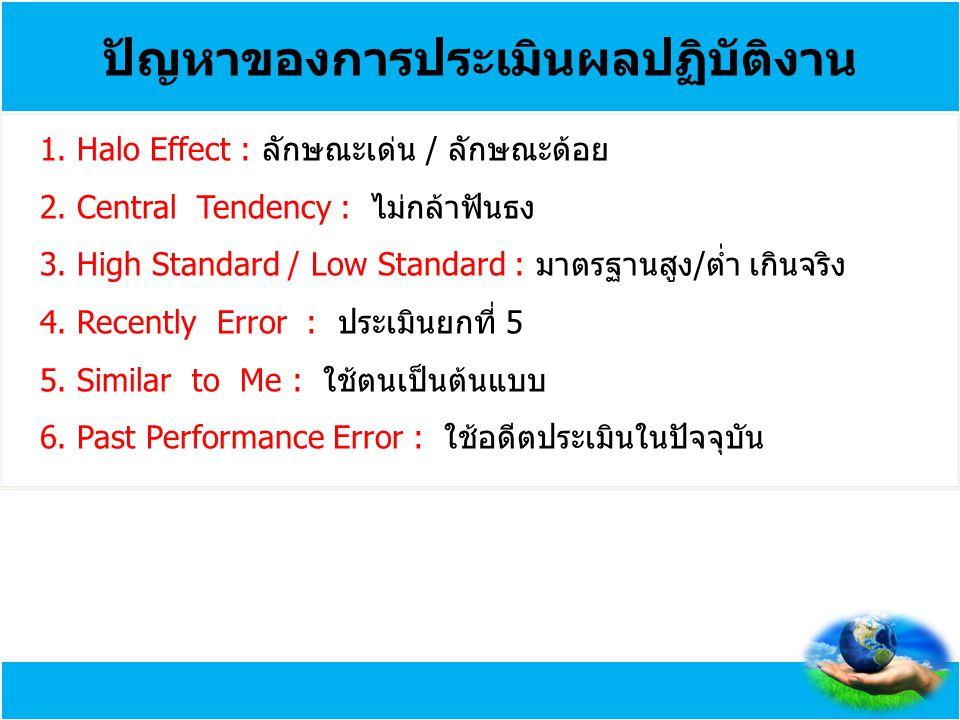 ปัญหาของการประเมินผลปฏิบัติงาน 1. Halo Effect : ลักษณะเด่น / ลักษณะด้อย 2. Central Tendency : ไม่กล้าฟันธง 3. High Standard / Low Standard : มาตรฐานสู