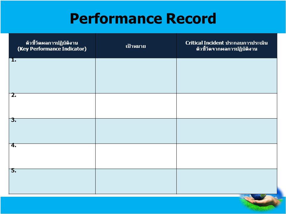 Performance Record ตัวชี้วัดผลการปฏิบัติงาน (Key Performance Indicator) เป้าหมาย Critical Incident ประกอบการประเมิน ตัวชี้วัดจากผลการปฏิบัติงาน 1. 2.