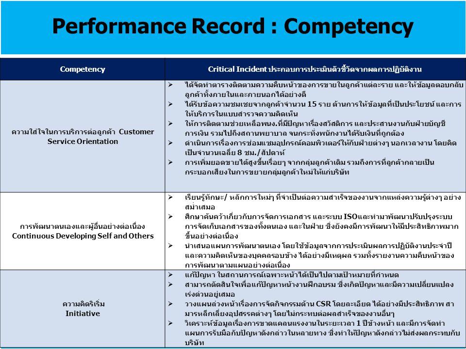 Performance Record : Competency CompetencyCritical Incident ประกอบการประเมินตัวชี้วัดจากผลการปฏิบัติงาน ความใส่ใจในการบริการต่อลูกค้า Customer Service