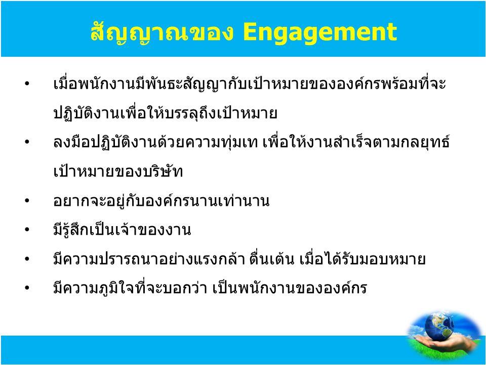 สัญญาณของ Engagement เมื่อพนักงานมีพันธะสัญญากับเป้าหมายขององค์กรพร้อมที่จะ ปฏิบัติงานเพื่อให้บรรลุถึงเป้าหมาย ลงมือปฏิบัติงานด้วยความทุ่มเท เพื่อให้ง