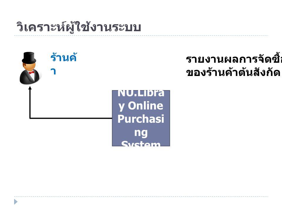 วิเคราะห์ผู้ใช้งานระบบ NU.Libra y Online Purchasi ng System ร้านค้ า รายงานผลการจัดซื้อ ของร้านค้าต้นสังกัด