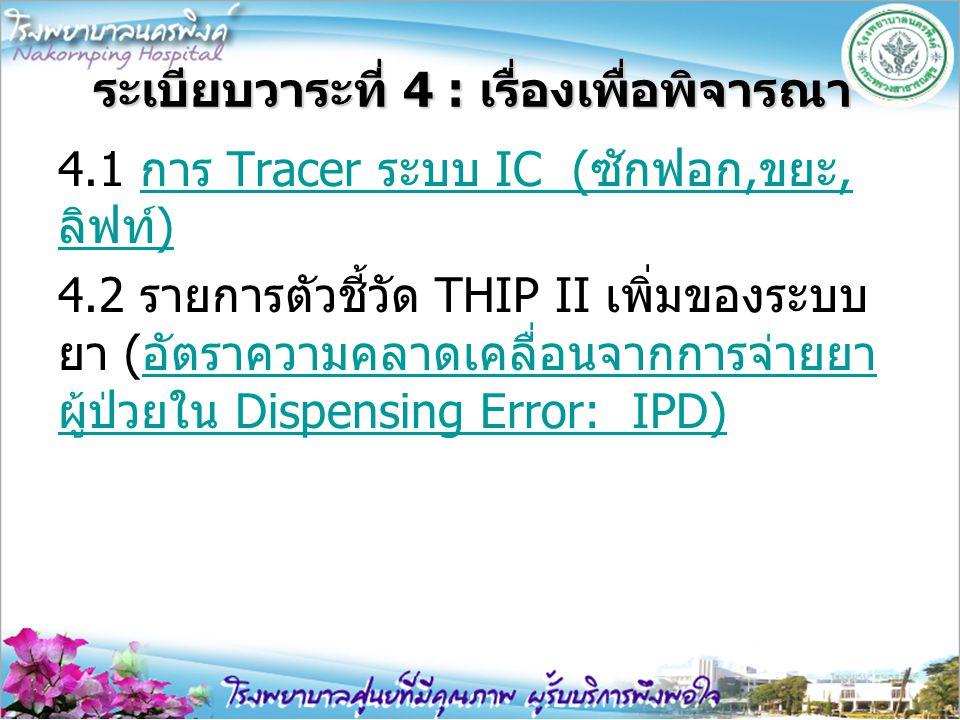 ระเบียบวาระที่ 4 : เรื่องเพื่อพิจารณา 4.1 การ Tracer ระบบ IC (ซักฟอก,ขยะ, ลิฟท์)การ Tracer ระบบ IC (ซักฟอก,ขยะ, ลิฟท์) 4.2 รายการตัวชี้วัด THIP II เพิ