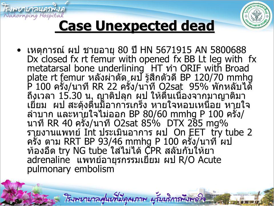Case Unexpected dead Case Unexpected dead เหตุการณ์ ผป ชายอายุ 80 ปี HN 5671915 AN 5800688 Dx closed fx rt femur with opened fx BB Lt leg with fx meta