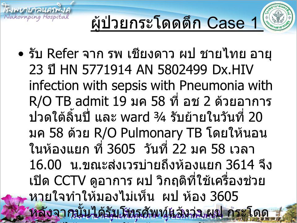 รับ Refer จาก รพ เชียงดาว ผป ชายไทย อายุ 23 ปี HN 5771914 AN 5802499 Dx.HIV infection with sepsis with Pneumonia with R/O TB admit 19 มค 58 ที่ อช 2 ด