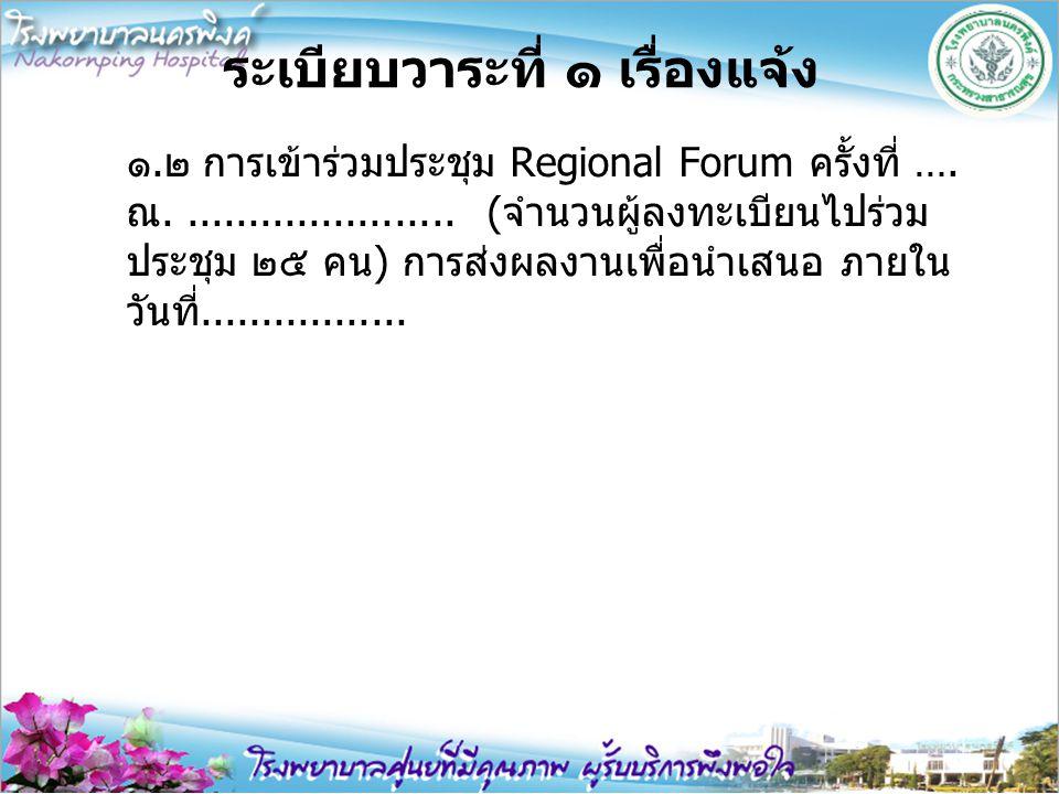 ระเบียบวาระที่ ๑ เรื่องแจ้ง ๑.๒ การเข้าร่วมประชุม Regional Forum ครั้งที่ …. ณ....................... (จำนวนผู้ลงทะเบียนไปร่วม ประชุม ๒๕ คน) การส่งผลง