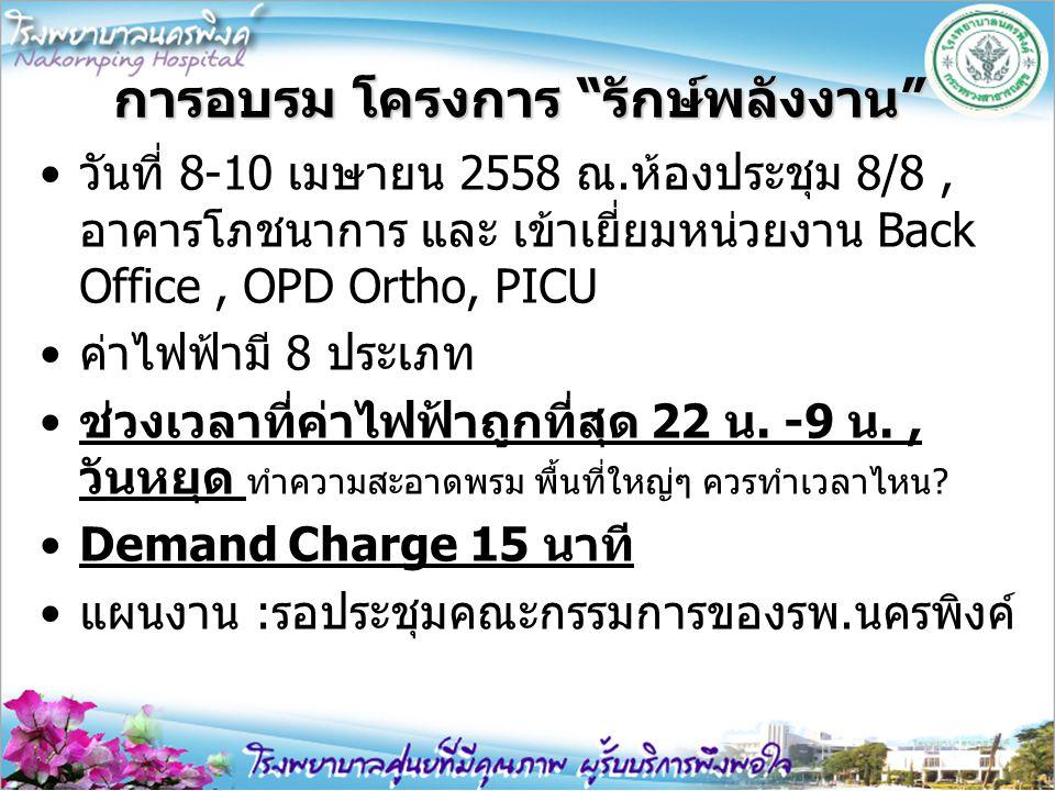 """การอบรม โครงการ """"รักษ์พลังงาน"""" วันที่ 8-10 เมษายน 2558 ณ.ห้องประชุม 8/8, อาคารโภชนาการ และ เข้าเยี่ยมหน่วยงาน Back Office, OPD Ortho, PICU ค่าไฟฟ้ามี"""