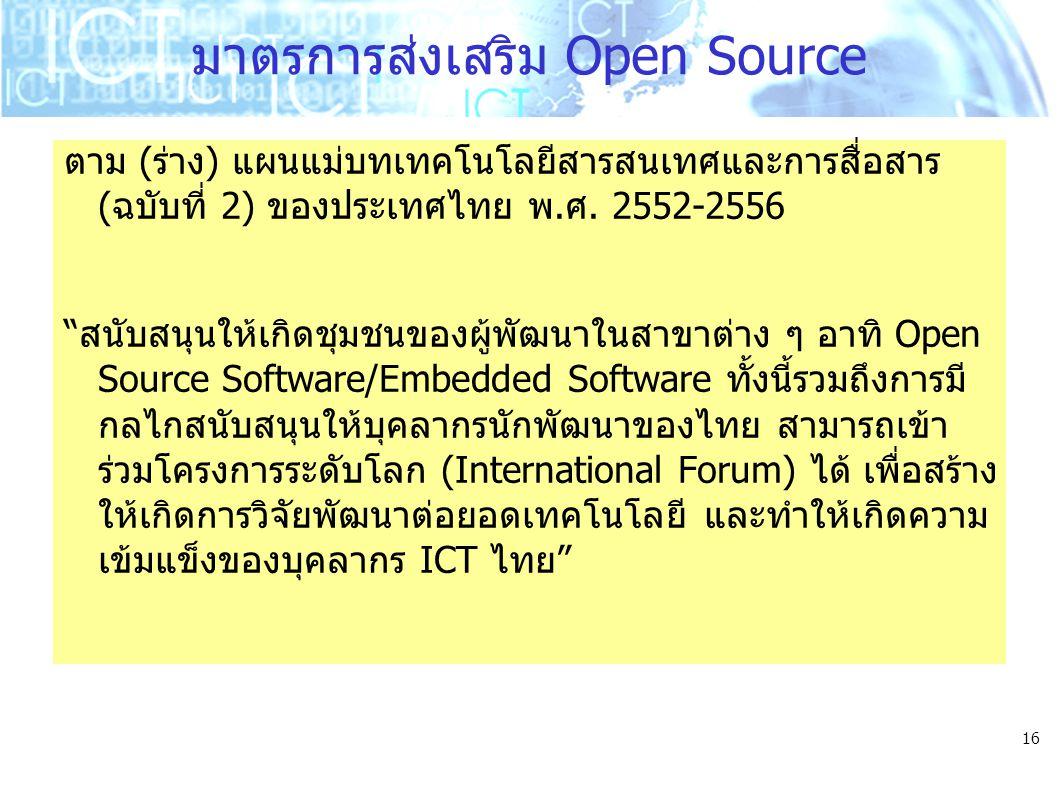 """16 มาตรการส่งเสริม Open Source ตาม (ร่าง) แผนแม่บทเทคโนโลยีสารสนเทศและการสื่อสาร (ฉบับที่ 2) ของประเทศไทย พ.ศ. 2552-2556 """"สนับสนุนให้เกิดชุมชนของผู้พั"""