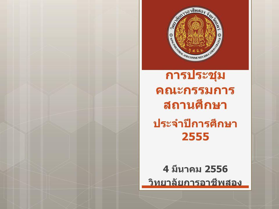 การประชุม คณะกรรมการ สถานศึกษา ประจำปีการศึกษา 2555 4 มีนาคม 2556 วิทยาลัยการอาชีพสอง