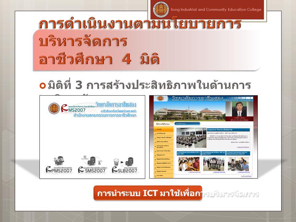  มิติที่ 3 การสร้างประสิทธิภาพในด้านการ บริหารจัดการ Song Industrial and Community Education College การนำระบบ ICT มาใช้เพื่อการบริหารจัดการ
