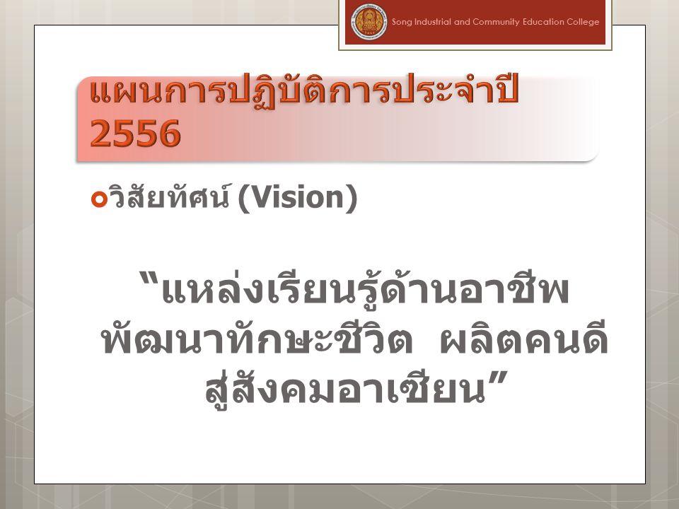  วิสัยทัศน์ (Vision) แหล่งเรียนรู้ด้านอาชีพ พัฒนาทักษะชีวิต ผลิตคนดี สู่สังคมอาเซียน Song Industrial and Community Education College