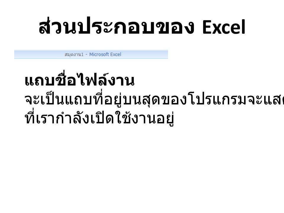 ส่วนประกอบของ Excel แถบเมนูโปรแกรม เป็นแถบเมนูที่ รวบรวมคำสั่งการใช้งาน Excel 2007 ทั้งหมดไว้บนแถบเมนูนี้