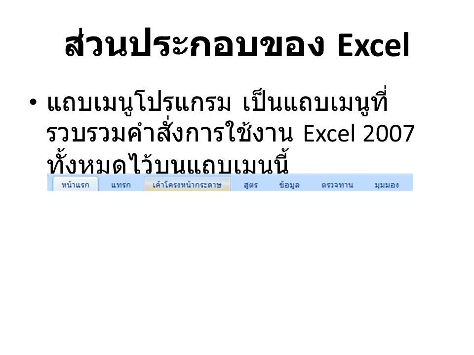 ส่วนประกอบของ Excel แถบเครื่องมือ Standard ในชุดแถบ เครื่องมือนี้จะเป็นเครื่องมือหลักๆ ที่ใช้ ในการสร้างเอกสาร, เปิดเอกสาร, บันทึกเอกสาร หรือแม้แต่การ Print งานเป็นต้น