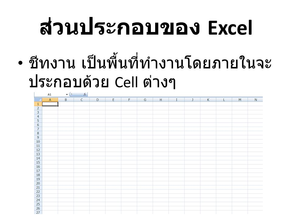 ส่วนประกอบของ Excel ชีทงาน เป็นพื้นที่ทำงานโดยภายในจะ ประกอบด้วย Cell ต่างๆ