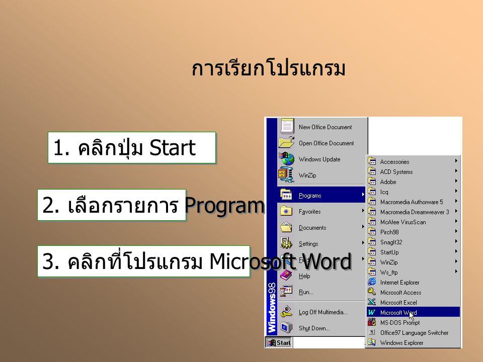 การเรียกโปรแกรม 1. คลิกปุ่ม Start 2. เลือกรายการ Program 3. คลิกที่โปรแกรม Microsoft Word