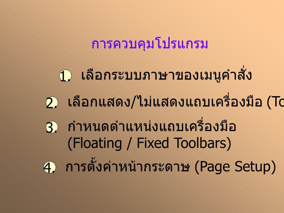 การควบคุมโปรแกรม 1. เลือกระบบภาษาของเมนูคำสั่ง 2. เลือกแสดง / ไม่แสดงแถบเครื่องมือ (Toolbar) 3. กำหนดตำแหน่งแถบเครื่องมือ (Floating / Fixed Toolbars)