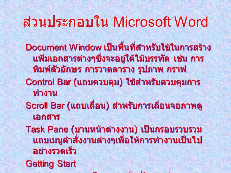 6 ส่วนประกอบใน Microsoft Word Document Window เป็นพื้นที่สำหรับใช้ในการสร้าง แฟ้มเอกสารต่างๆซึ่งจะอยู่ใต้ไม้บรรทัด เช่น การ พิมพ์ตัวอักษร การวาดตาราง รูปภาพ กราฟ Control Bar ( แถบควบคุม ) ใช้สำหรับควบคุมการ ทำงาน Scroll Bar ( แถบเลื่อน ) สำหรับการเลื่อนจอภาพดู เอกสาร Task Pane ( บานหน้าต่างงาน ) เป็นกรอบรวบรวม แถบเมนูคำสั่งงานต่างๆเพื่อให้การทำงานเป็นไป อย่างรวดเร็ว Getting Start Search Results เป็นเมนูคำสั่งที่ใช้พิมพ์ข้อความ