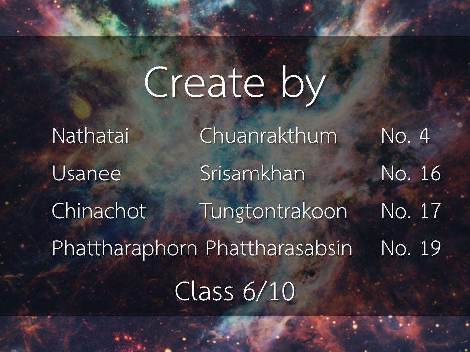 Create by Nathatai Chuanrakthum No. 4 Usanee SrisamkhanNo. 16 Chinachot Tungtontrakoon No. 17 Phattharaphorn PhattharasabsinNo. 19 Class 6/10