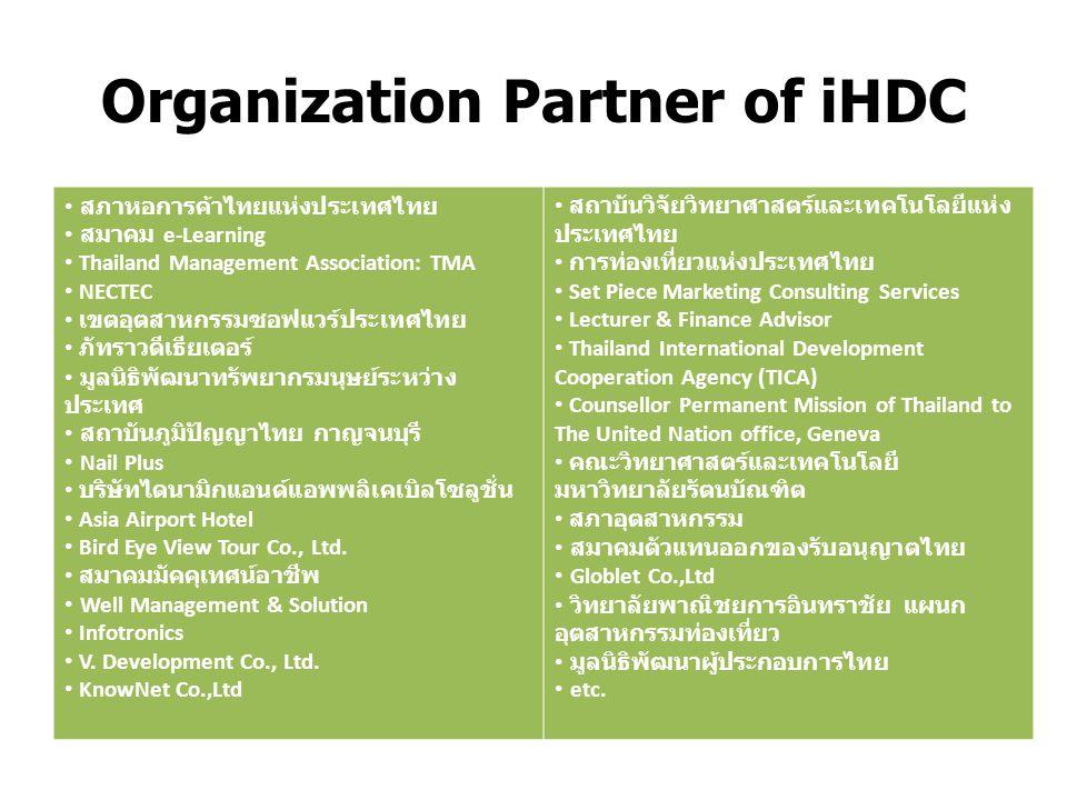 Organization Partner of iHDC สภาหอการค้าไทยแห่งประเทศไทย สมาคม e-Learning Thailand Management Association: TMA NECTEC เขตอุตสาหกรรมซอฟแวร์ประเทศไทย ภัทราวดีเธียเตอร์ มูลนิธิพัฒนาทรัพยากรมนุษย์ระหว่าง ประเทศ สถาบันภูมิปัญญาไทย กาญจนบุรี Nail Plus บริษัทไดนามิกแอนด์แอพพลิเคเบิลโซลูชั่น Asia Airport Hotel Bird Eye View Tour Co., Ltd.