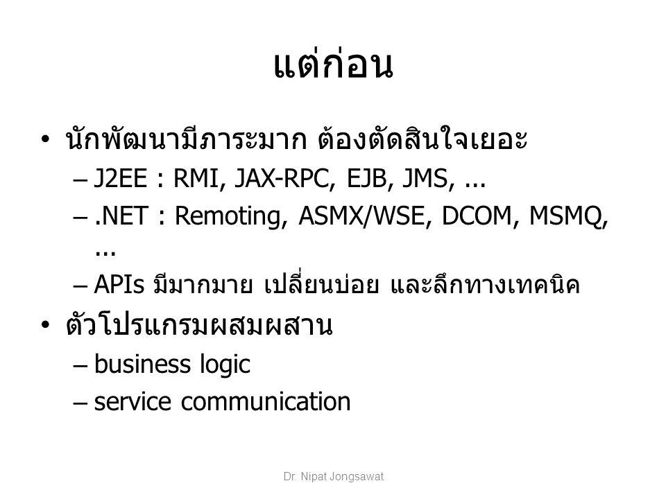 แต่ก่อน นักพัฒนามีภาระมาก ต้องตัดสินใจเยอะ – J2EE : RMI, JAX-RPC, EJB, JMS,... –.NET : Remoting, ASMX/WSE, DCOM, MSMQ,... – APIs มีมากมาย เปลี่ยนบ่อย