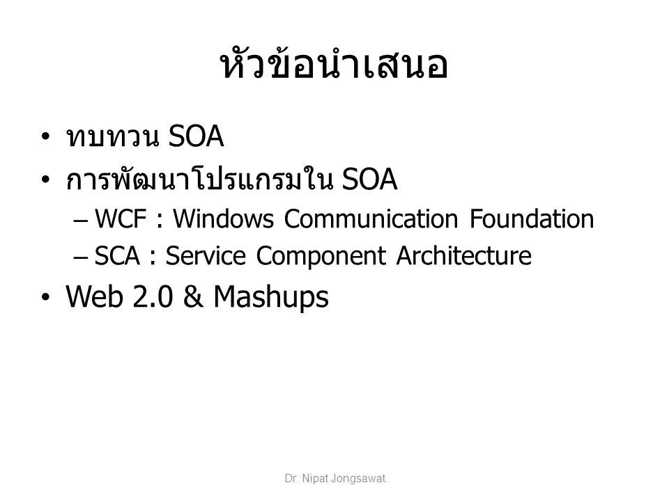 WCF/SCA : ความเหมือน สร้าง service จาก class เขียนหมายเหตุกำกับส่วนต่าง ๆ ของคลาส (attributes ใน.NET หรือ annotation ใน Java) เพื่อนิยามบริการ ใช้ binding กำกับตัวบริการเพื่อระบุกลไลการ สื่อสาร (มี pre-defined bindings ซึ่งสามารถ ปรับเปลี่ยนได้) รองรับข้อกำหนดตาม WS-* Dr.