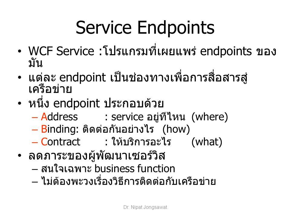 Service Endpoints WCF Service :โปรแกรมที่เผยแพร่ endpoints ของ มัน แต่ละ endpoint เป็นช่องทางเพื่อการสื่อสารสู่ เครือข่าย หนึ่ง endpoint ประกอบด้วย –