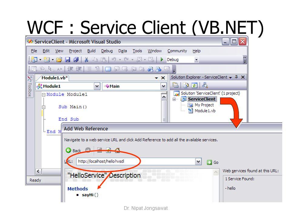 WCF : Service Client (VB.NET) Dr. Nipat Jongsawat