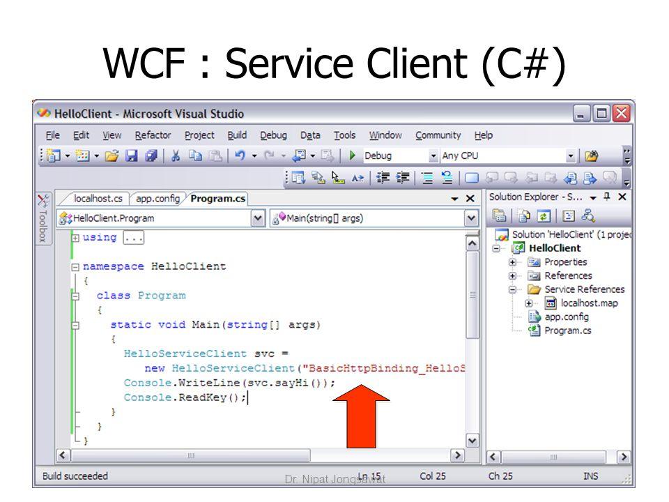WCF : Service Client (C#) Dr. Nipat Jongsawat