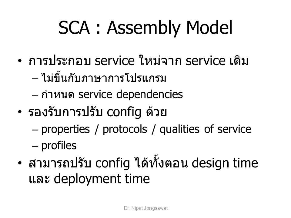 SCA : Assembly Model การประกอบ service ใหม่จาก service เดิม – ไม่ขึ้นกับภาษาการโปรแกรม – กำหนด service dependencies รองรับการปรับ config ด้วย – proper