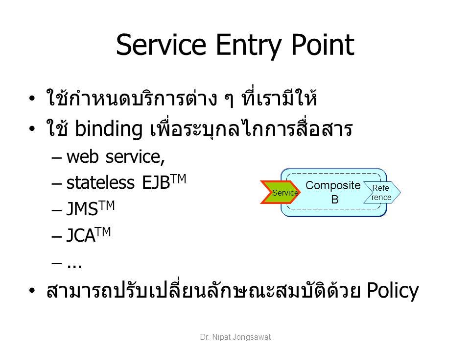 Service Entry Point ใช้กำหนดบริการต่าง ๆ ที่เรามีให้ ใช้ binding เพื่อระบุกลไกการสื่อสาร – web service, – stateless EJB TM – JMS TM – JCA TM –... สามา
