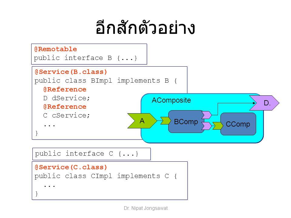 @Service(B.class) public class BImpl implements B { @Reference D dService; @Reference C cService;... } @Service(B.class) public class BImpl implements