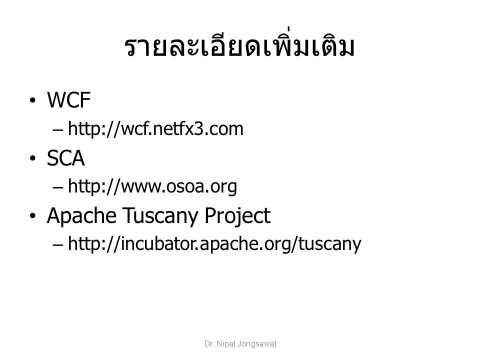 รายละเอียดเพิ่มเติม WCF – http://wcf.netfx3.com SCA – http://www.osoa.org Apache Tuscany Project – http://incubator.apache.org/tuscany Dr. Nipat Jongs