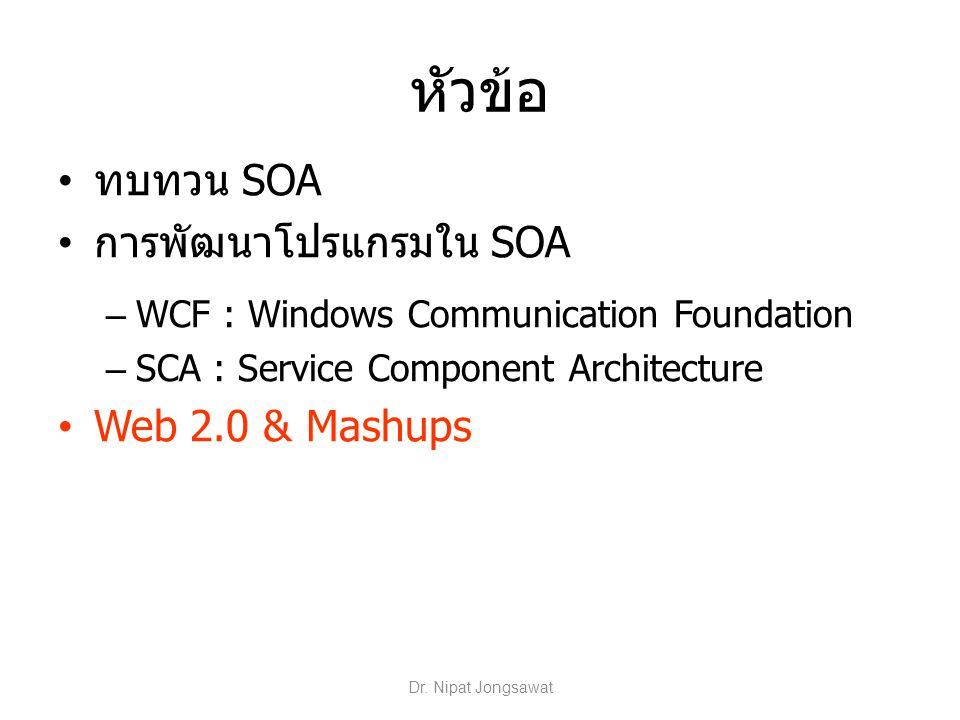 หัวข้อ ทบทวน SOA การพัฒนาโปรแกรมใน SOA – WCF : Windows Communication Foundation – SCA : Service Component Architecture Web 2.0 & Mashups Dr. Nipat Jon