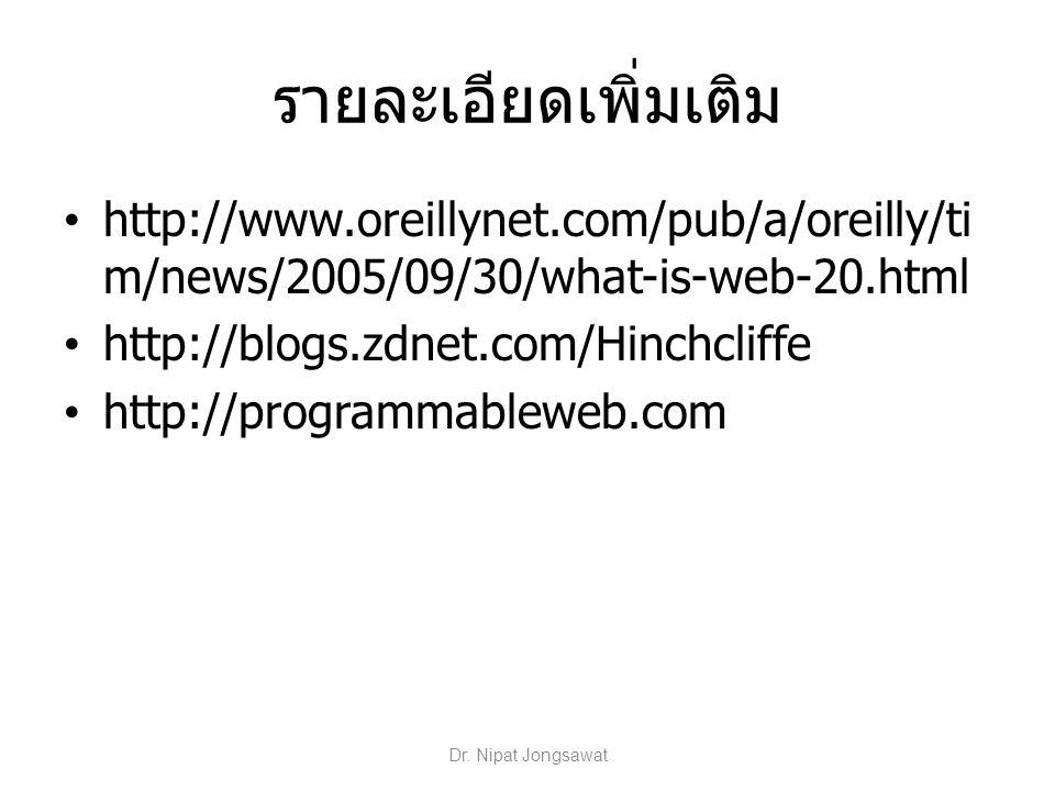 รายละเอียดเพิ่มเติม http://www.oreillynet.com/pub/a/oreilly/ti m/news/2005/09/30/what-is-web-20.html http://blogs.zdnet.com/Hinchcliffe http://program