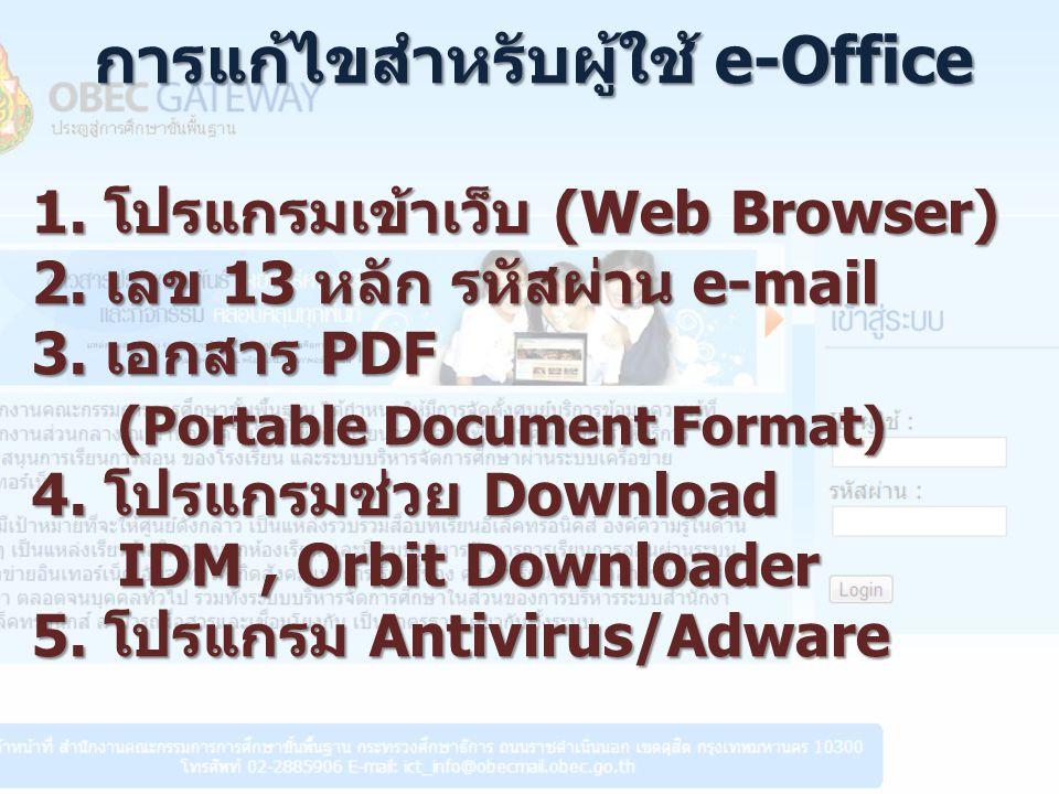 การแก้ไขสำหรับผู้ใช้ e-Office 1.โปรแกรมเข้าเว็บ (Web Browser) 2.