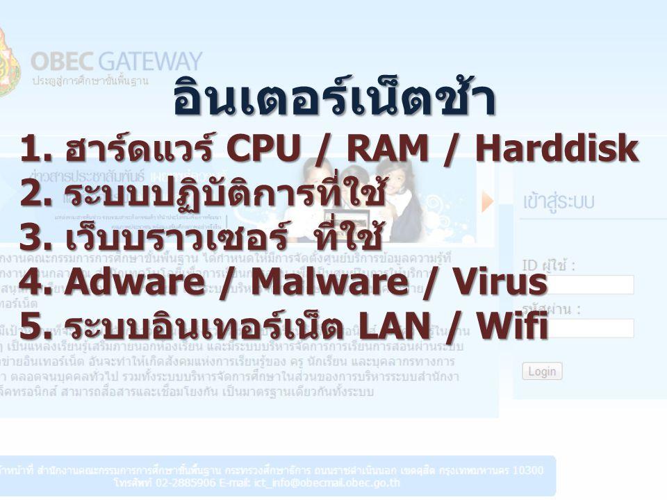 อินเตอร์เน็ตช้า 1. ฮาร์ดแวร์ CPU / RAM / Harddisk 2.