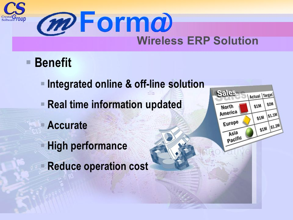  Benefit  Integrated online & off-line solution  Real time information updated  Accurate  High performance  Reduce operation cost Wireless ERP Solution