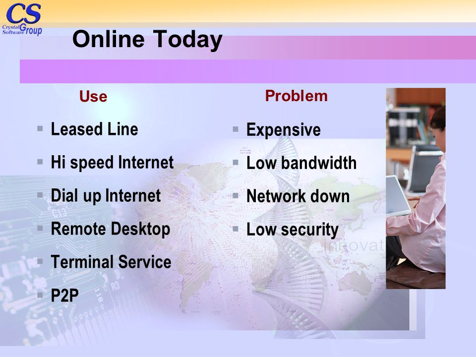 Online Today  Leased Line  Hi speed Internet  Dial up Internet  Remote Desktop  Terminal Service  P2P  Expensive  Low bandwidth  Network down  Low security Problem Use