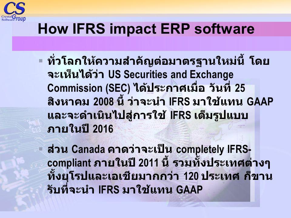 How IFRS impact ERP software  ทั่วโลกให้ความสำคัญต่อมาตรฐานใหม่นี้ โดย จะเห็นได้ว่า US Securities and Exchange Commission (SEC) ได้ประกาศเมื่อ วันที่