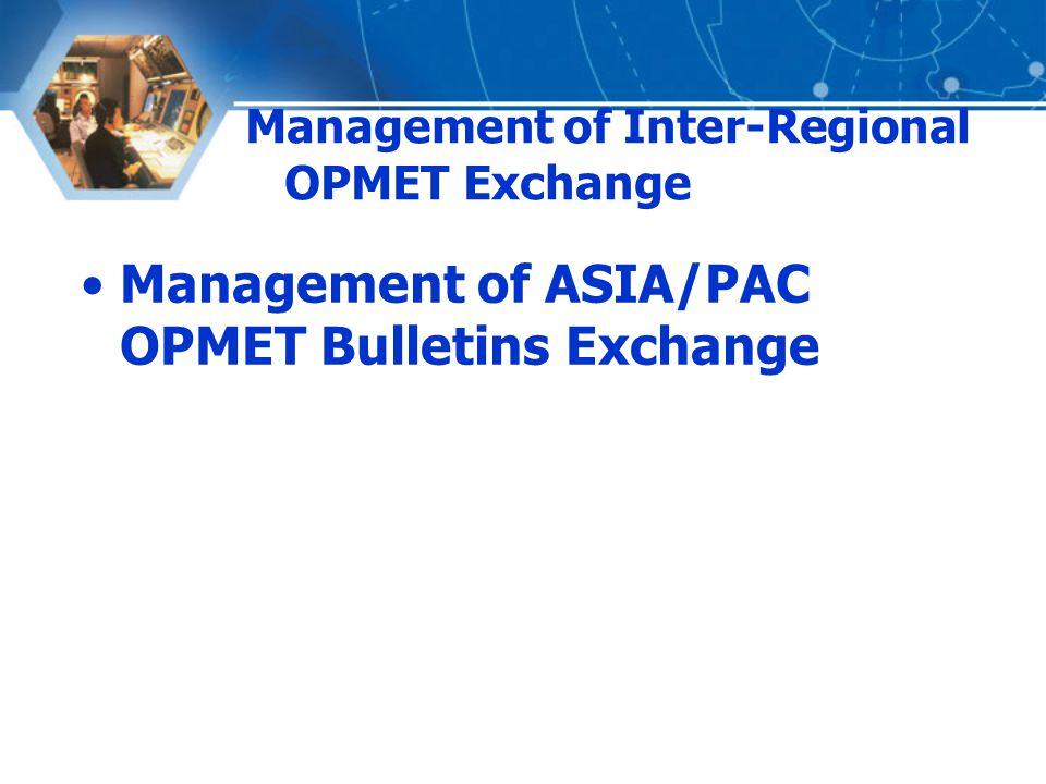 Management of Inter-Regional OPMET Exchange Management of ASIA/PAC OPMET Bulletins Exchange