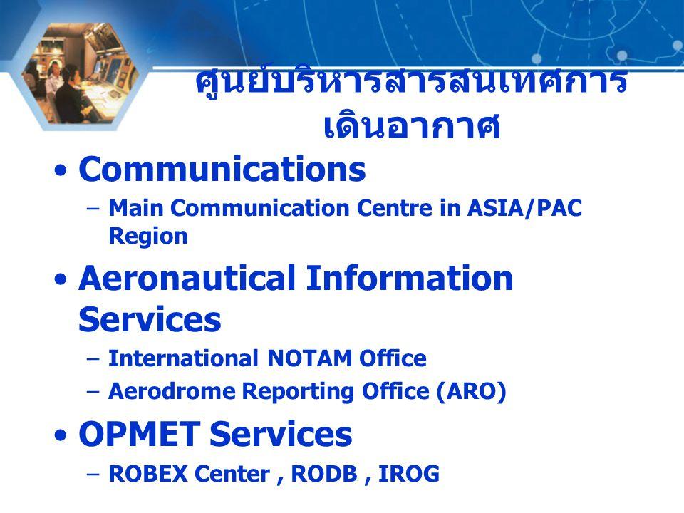 ที่มา : งานบริการข้อมูล อุตุนิยมวิทยาการบิน ROBEX CENTER เริ่มดำเนินการครั้งแรก เมื่อปี ๒๕๑๕ โดยได้รับ มอบหมายจาก ICAO ให้เป็นศูนย์แลกเปลี่ยนข่าว อากาศการบินประจำภูมิภาค (Regional OPMET Bulletin Exchange Centre: ROBEX Centre) ดำเนินงานตามแผนการแลกเปลี่ยนข่าวอากาศ การบินที่เรียกว่า ROBEX Scheme RODB ปี ๒๕๓๕ ICAO มอบหมายให้เป็นคลังข้อมูลข่าว อากาศการบินประจำภูมิภาค (Regional OPMET Data Bank) ทำหน้าที่เป็นคลังจัดเก็บข้อมูลข่าว อากาศการบิน และทำหน้าที่แลกเปลี่ยนข่าว ระหว่างภูมิภาค (Inter-Regional OPMET Gateway: IROG)