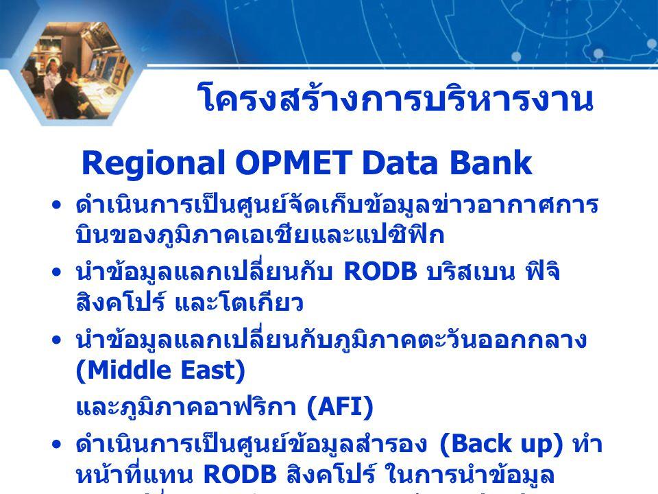 โครงสร้างการบริหารงาน Regional OPMET Data Bank ดำเนินการเป็นศูนย์จัดเก็บข้อมูลข่าวอากาศการ บินของภูมิภาคเอเชียและแปซิฟิก นำข้อมูลแลกเปลี่ยนกับ RODB บร