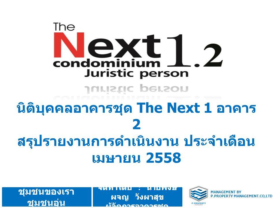 จัดทำโดย : นายพงษ์ ผจญ วังผาสุข ผู้จัดการอาคารชุด MANAGEMENT BY P.PROPERTY MANAGEMENT.CO,LTD ชุมชนของเรา ชุมชนอุ่น นิติบุคคลอาคารชุด The Next 1 อาคาร 2 สรุปรายงานการดำเนินงาน ประจำเดือน เมษายน 2558
