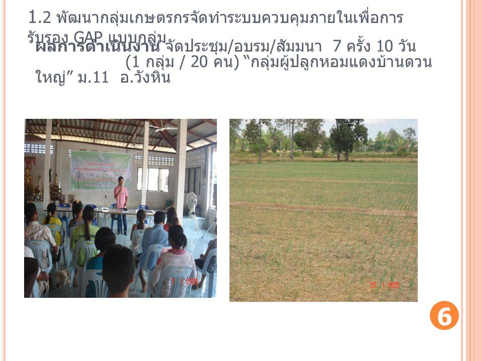 """1.2 พัฒนากลุ่มเกษตรกรจัดทำระบบควบคุมภายในเพื่อการ รับรอง GAP แบบกลุ่ม ผลการดำเนินงาน จัดประชุม / อบรม / สัมมนา 7 ครั้ง 10 วัน (1 กลุ่ม / 20 คน ) """" กลุ"""