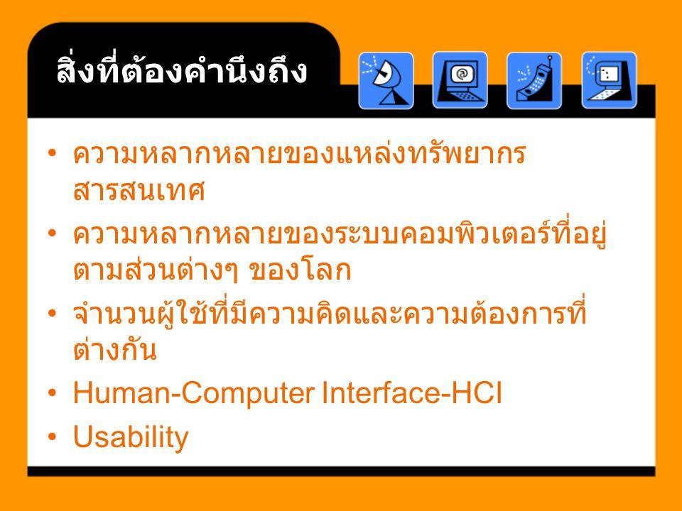 สิ่งที่ต้องคำนึงถึง ความหลากหลายของแหล่งทรัพยากร สารสนเทศ ความหลากหลายของระบบคอมพิวเตอร์ที่อยู่ ตามส่วนต่างๆ ของโลก จำนวนผู้ใช้ที่มีความคิดและความต้องการที่ ต่างกัน Human-Computer Interface-HCI Usability