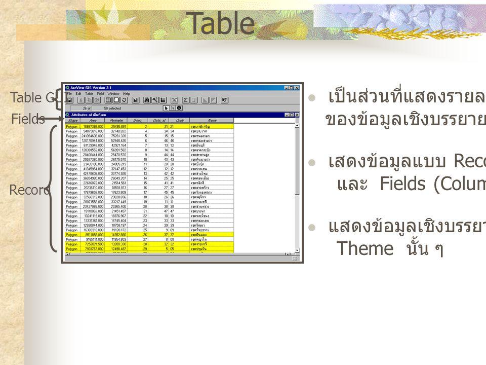 Table เป็นส่วนที่แสดงรายละเอียด ของข้อมูลเชิงบรรยาย (Attribute) เสดงข้อมูลแบบ Record (Row) และ Fields (Columns) แสดงข้อมูลเชิงบรรยายของ Theme นั้น ๆ Table GUI Record Fields