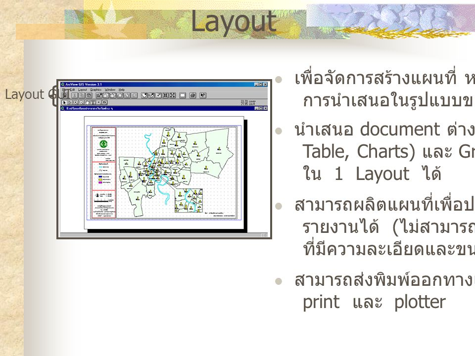 Layout เพื่อจัดการสร้างแผนที่ หรือรูปแบบ การนำเสนอในรูปแบบของ hardcopy นำเสนอ document ต่าง ๆ (View, Table, Charts) และ Graphic ไว้ ใน 1 Layout ได้ สามารถผลิตแผนที่เพื่อประกอบ รายงานได้ ( ไม่สามารถผลิตแผนที่ ที่มีความละเอียดและขนาดใหญ่ได้ ) สามารถส่งพิมพ์ออกทางเครื่อง print และ plotter Layout GUI