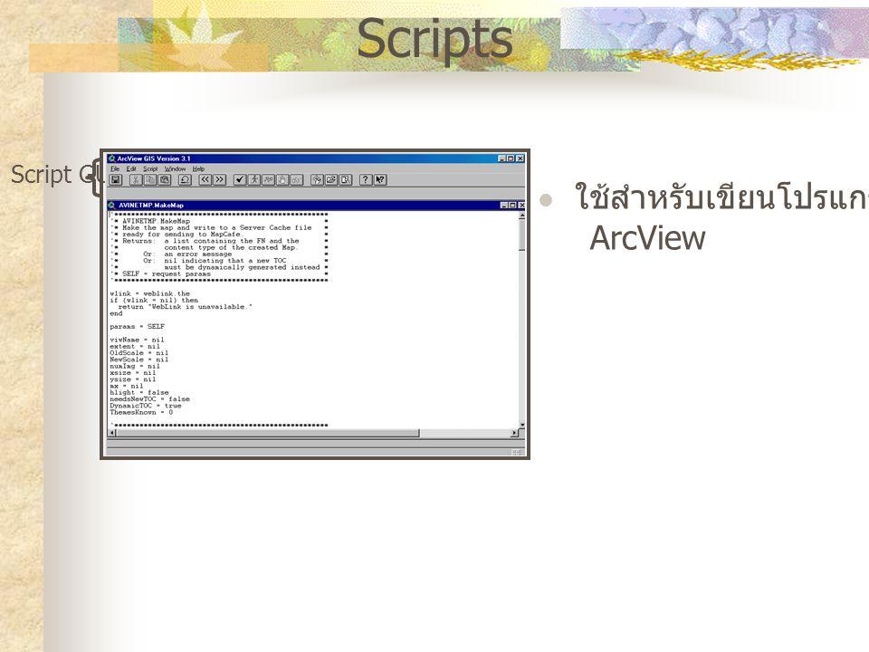 Scripts ใช้สำหรับเขียนโปรแกรมโดยใช้ ArcView Script GUI